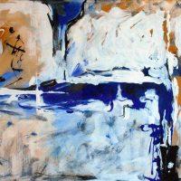 70x50 - Papier oder Faserplatte - Blaue Komposition