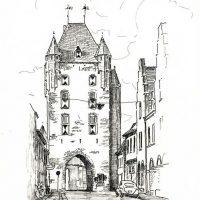 18x24 - Tusche Papier - Klever Tor, Xanten