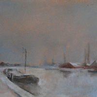 Hafenszene am Rhein im Winter - 40x30 - Papier